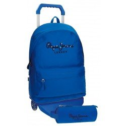 Mochila Pepe Jeans Poliéster 42,5x30,5x15 cm Harlow Azul con ruedas + estuche escolar