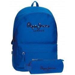 Pepe Jeans Poliéster 42x31x17,5 cm Harlow Azul + estuche escolar