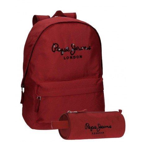 Mochila Pepe Jeans Poliéster 42x31x17,5 cm Harlow Rojo + estuche escolar