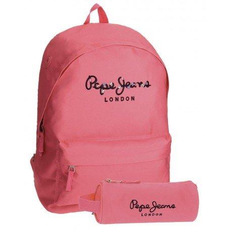 Mochila Pepe Jeans Poliéster 42x31x17,5 cm Harlow Rosa + estuche escolar