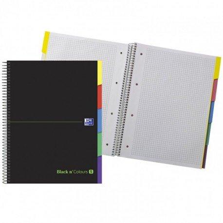 CUADERNO ESPIRAL OXFORD EBOOK 5 TAPA EXTRADURA DIN A4+ 100 H CON SEPARADORES CUADRICULA 5 MM BLACK'N COLORS VERDE