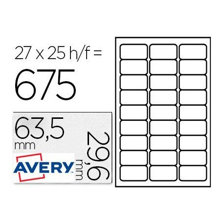 Etiqueta Adhesiva Avery 63,5x33,9 mm Color blanco Caja con 25 hojas Removible Ecologica