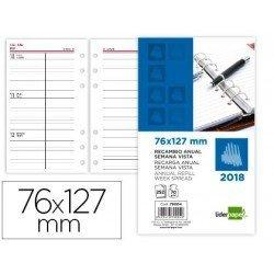 Recambio agenda anual 2018 6 anillas Semana vista 76x127 mm Liderpapel