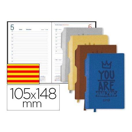Agenda 2018 Encuadernada Symi Mini Dia pagina Catalan 75x106 mm Colores Surtidos Liderpapel