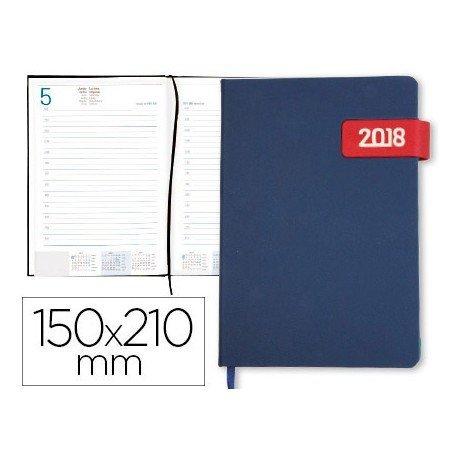 Agenda 2018 Encuadernada Thira Dia pagina 150x210 mm Azul solapa roja Liderpapel