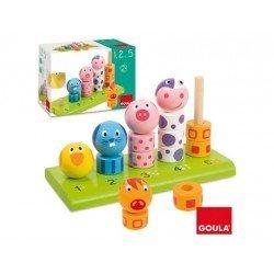 Juego para bebes a partir de 1 año Apilable de animales de la granja Goula