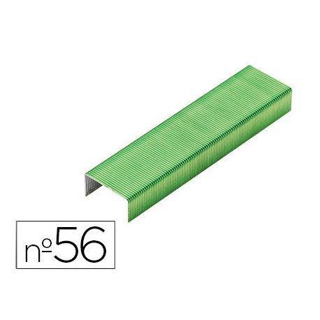 Grapas Rexel N.56 26/6 color verde lima 2000 unidades