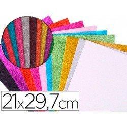 Goma Eva Autoadhesiva Colores surtidos con purpurina 22x30 cm Bolsa de 10 uds