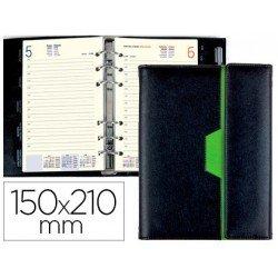 Agenda 2018 Anillas Nero Dia pagina 150X210 mm negro/verde Liderpapel