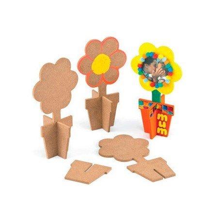 Figura de madera Macetero y flor para pintar 3 uds