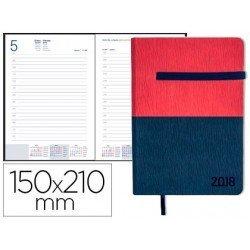 Agenda 2018 Encuadernada Leontio Dia pagina DIN A5 Roja y azul Liderpapel