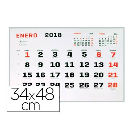 CALENDARIO PARED LIDERPAPEL 2018 34X48 CM PAPEL 70 GR