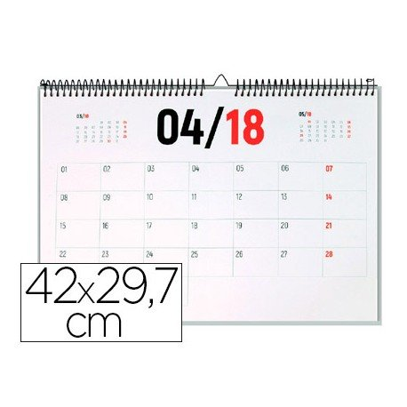 CALENDARIO PARED LIDERPAPEL 2018 42X29,7 CM PAPEL 70GR