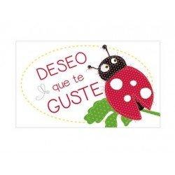 Etiqueta Deseo que te guste mariquita marca Arguval