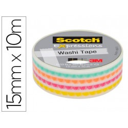 Cinta Adhesiva Washi Tape Punto Funky 10mt x 15mm marca Scotch