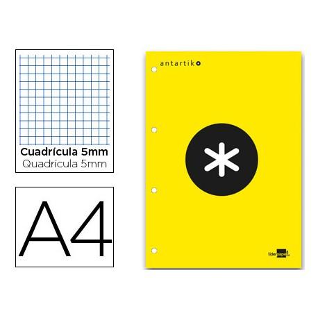 Bloc Antartik A4 Cuadrícula Encolado 100g/m2 Amarillo 1 banda color amarilla
