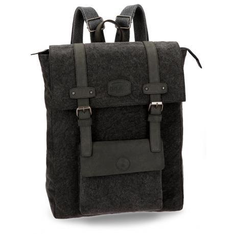 Mochila para portátil Pepe Jeans 42x34x14cm de Lona Horse Negra cuadrada