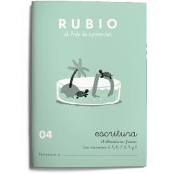 Cuaderno Rubio Escritura nº 04 Abecedario, frases y números: 4, 5, 6, 7, 8, 9 y 0 con puntos, dibujos y grecas