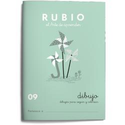 Cuaderno Rubio Escritura nº 09 Dibujos para seguir y colorear