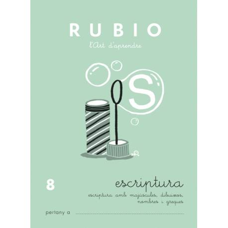 Cuaderno Rubio Escriptura nº 8 Mayúsculas, dibujos, números y grecas en Catalán