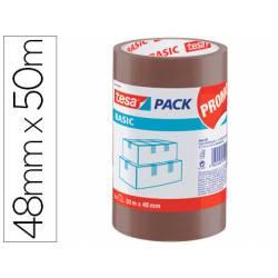 Cinta adhesiva Tesa Polipropileno Marrón 48m x 50mm Para embalaje Pack de 3 unidades