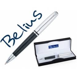 Bolígrafo Belius Valencia 1mm Tinta Azul Piel Negro con Adornos Lacados en Estuche
