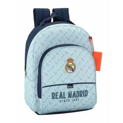 Mochila escolar Real Madrid 42x32x15 cm Azul Celeste Adaptable a carro