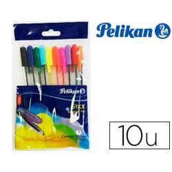 Bolígrafo Pelikan Stick K86/10 Punta 1mm Surtidos con Capuchón Blister de 10 Unidades
