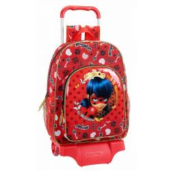 CARTERA ESCOLAR CON CARRO SAFTA LADYBUG SPARKLE 330X420X150 MM