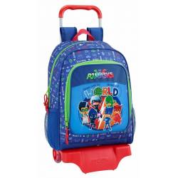 CARTERA ESCOLAR SAFTA CON CARRO PJ MASKS WORLD 330X430X150 MM