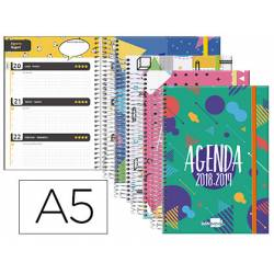 Agenda Escolar 18-19 Semana Vista DIN A5 Espiral Bilingüe Liderpapel Bassic con Goma No se puede elegir color