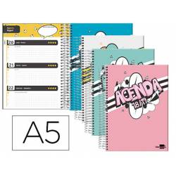 Agenda Escolar 18-19 Semana Vista DIN A5 con Espiral Bilingüe Liderpapel Basic No se puede elegir color