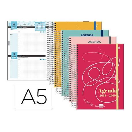 Agenda Escolar 18-19 Dos Días Vista DIN A5 Espiral Bilingüe Liderpapel College con Goma No se puede elegir color