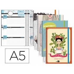 Agenda Escolar 18-19 Semana Vista DIN A5 Espiral Bilingüe Liderpapel College Fantasía con Goma No se puede elegir color