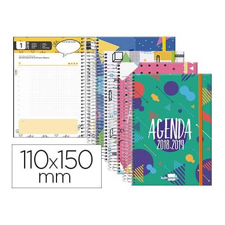 Agenda Escolar 18-19 Mini Día Vista 110x150mm Espiral Tetraling con Goma Liderpapel Classic No se puede elegir color