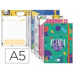 Agenda Escolar 18-19 Día Vista DIN A5 Espiral Catalán Liderpapel Classic con Goma No se puede elegir color