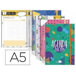 Agenda Escolar 18-19 Día Vista DIN A5 Espiral Tetraling Liderpapel Classic con Goma No se puede elegir color