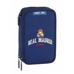 Plumier Real Madrid Basket 2017-2018 20,5x12,5x6 cm con triple cremallera 41 piezas