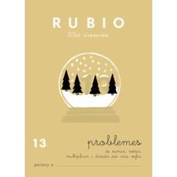 Cuaderno Rubio Problemes nº 13 Sumar, restar, multiplicar y dividir por una cifra en Catalán