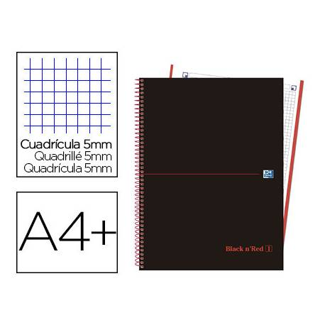 CUADERNO ESPIRAL OXFORD EBOOK 1 TAPA EXTRADURA DIN A4+ 80 H CUADRICULA 5 MM BLACK'N COLORS ROJO