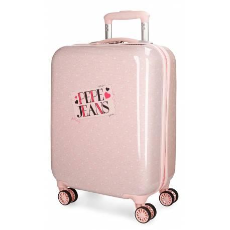 Maleta de cabina 55x37x20 cm Rigida Pepe Jeans Olaiade de color Rosa