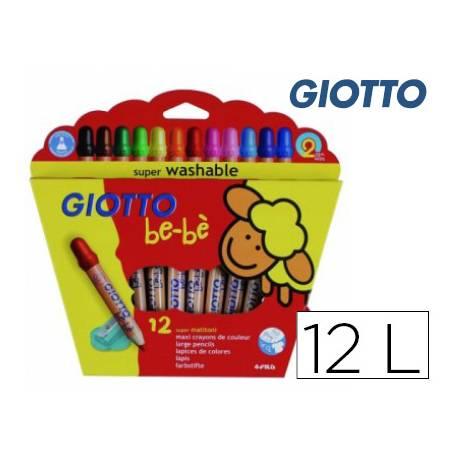 Lapices de Colores Giotto Super Bebé Caja 12 Colores Surtidos + Sacapuntas