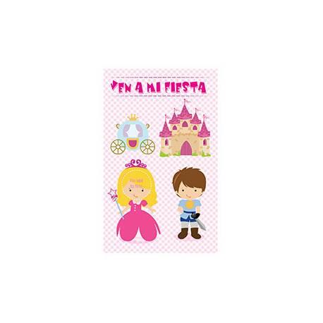 Invitacion para Fiesta Arguval Niños Troquelada Blister de 8 unidades Princesa