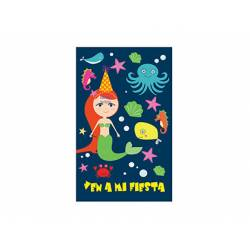 Invitacion para Fiesta Arguval para Niños Troquelada Blister de 8 unidades Sirena