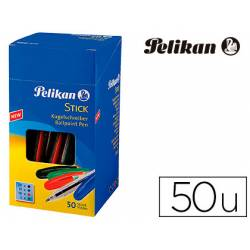 Bolígrafo Pelikan Stick Punta 0,4 mm Colores surtidos con Capuchón 50 unidades
