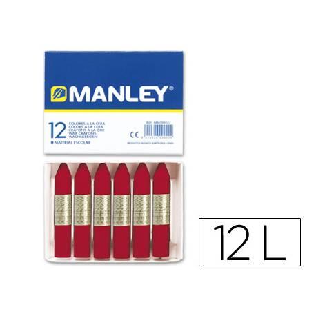 Lapices cera blanda Manley caja 12 unidades carmin permanente