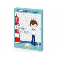 Libro de Recuerdo Comunion + Boligrafo + Bateria Arguval Niño Marinero