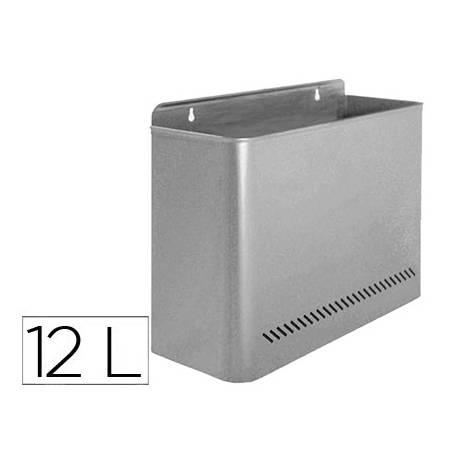 Papelera metalica de pared Sie color gris
