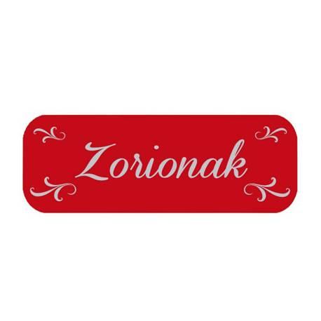 Etiqueta para regalo Arguval Zorionak Rollo de 250 unidades Euskera Rojo