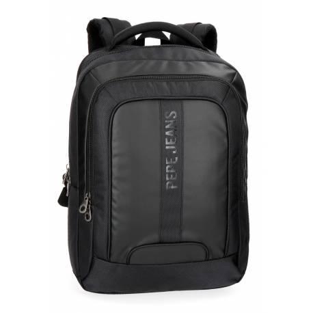 """Mochila para portátil Pepe Jeans 47x31x11 cm de Piel sintética Bromley negra 15,6"""" doble compartimento"""